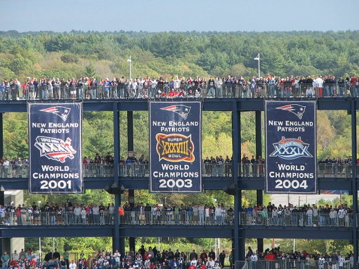 3 Championship banners at Gillette Stadium