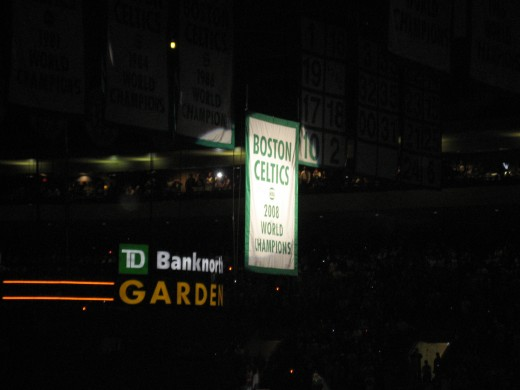 The Celtic 2008 Championship Banner being raised to the rafters of the TD Bank Garden