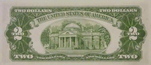 Monticello, outside Charlottesville, depicted on a 1953 two-dollar bill.