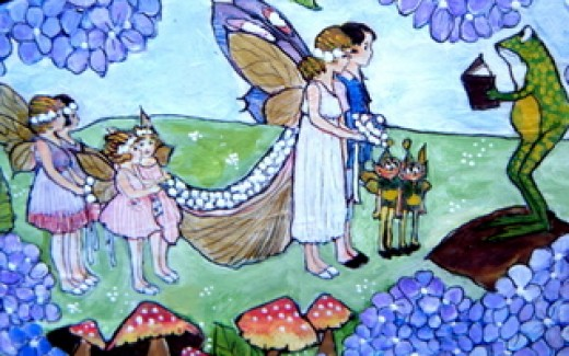 A fairy wedding takes place in the meadow, just beyond the hydrangea.  This would make a lovely anniversary gift or perhaps an extra gift to give a couple on their wedding day aside from a monetary one.