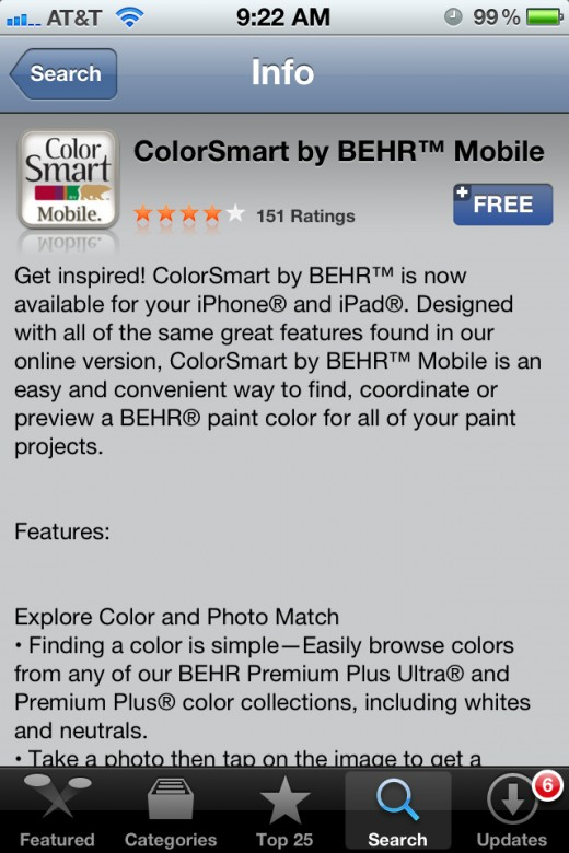 Screen Grab Of The Behr ColorSmart In The App Store. (It's FREE)