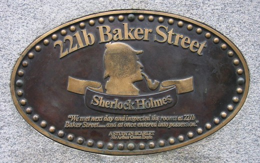 Bronze plaque at 221B Baker Street, London, UK