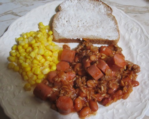 Bean barf is good with corn and buttered bread.
