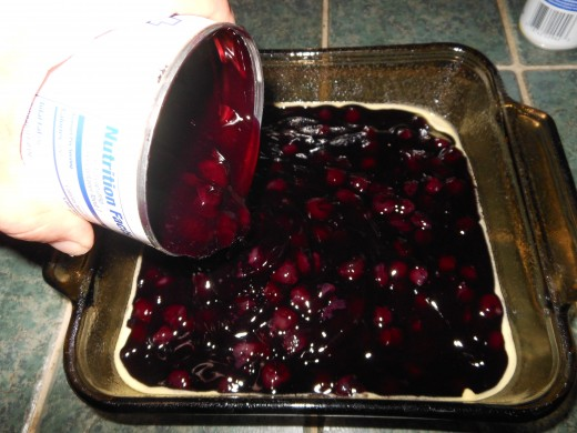 Pour 2 cans of blueberry pie filling into your baking dish. Spread evenly.