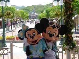 Mickey and Minnie Mouse at Disneyland in California.
