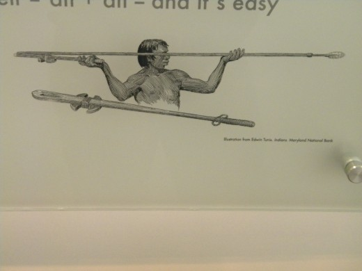 Illustration of a Paleo hunter using an atlatl to launch a spear.  The projectile is often referred to as a dart.