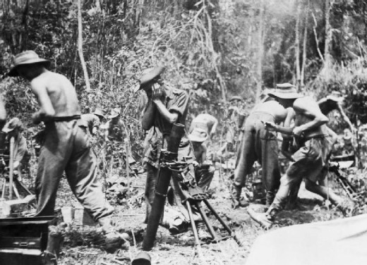 British 3-inch mortar detachments support the 19th Indian Division in Burma