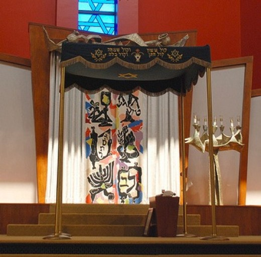 A traditional chuppah for a Jewish wedding