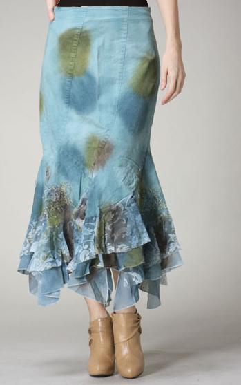 Spotted Distressed Denim Skirt