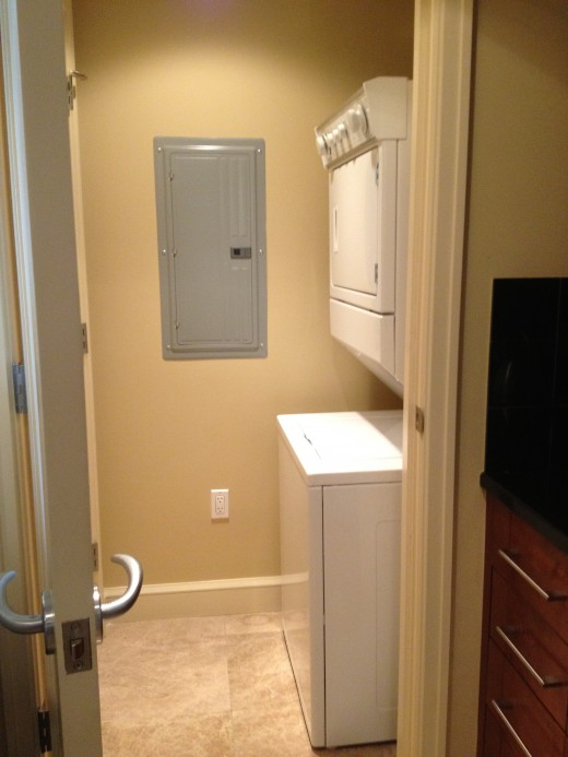 An added bonus is a full sized washer and dryer.