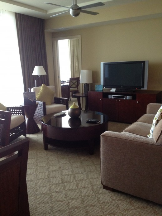 The living room was comfortable and provided a good view of the ocean.