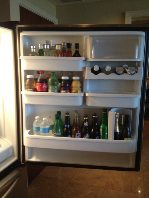 The refrigerator was stocked with a variety of beverages.
