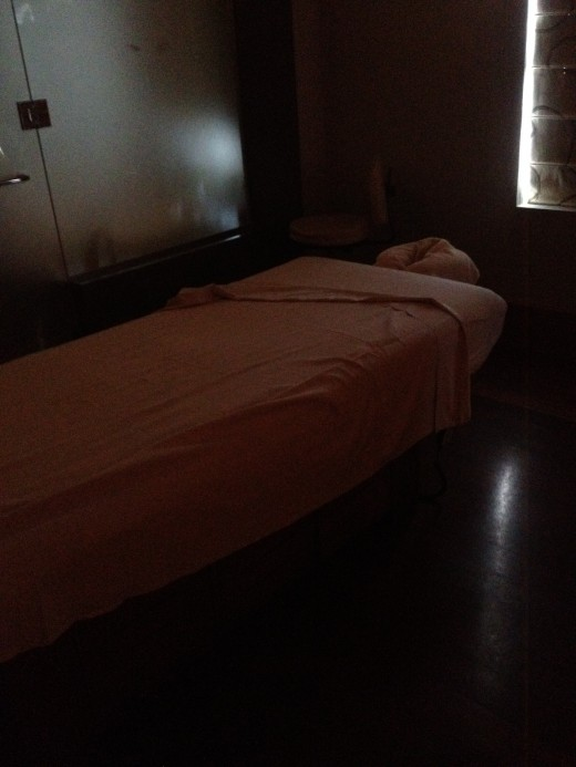 The massage room's darkened environment  and aromatherapy oils enable you to totally unwind during treatment.
