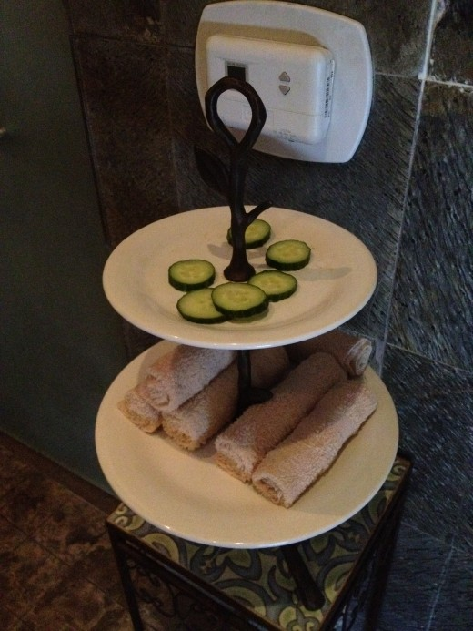 Cucumbers and a warm face towel are nice treatments available in the sauna area.