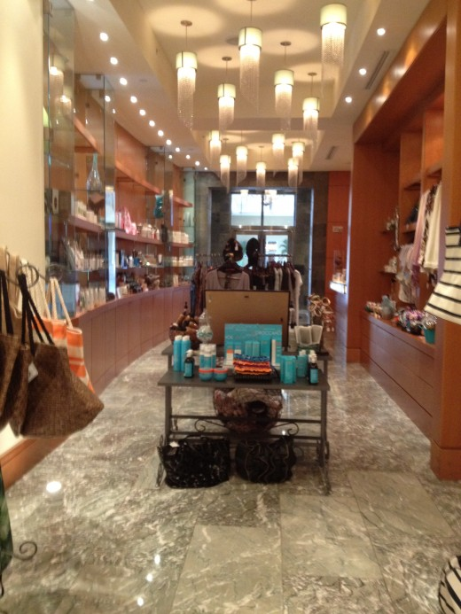 Welcome to the Spa! Here you can shop for beach wear, jewelry or toiletries after your treatment.