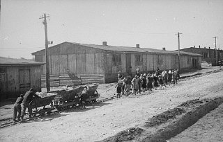 Inmates pushing and pulling heavy loads of materials for the SS, who supervised the extensive concentration camp and slave labor camp systems.