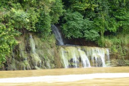 A waterfall along the river.