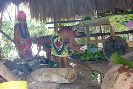 Embera women, partly topless, preparing lunch for us in the village cooking hut.