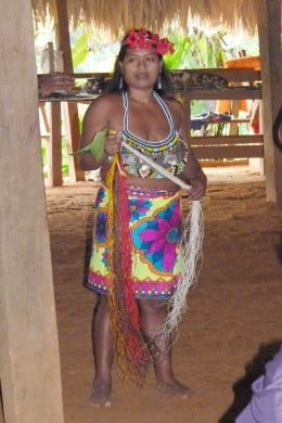 Embera Indian explaining how some of the crafts are made.
