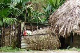 An Embera Indian lady taking a shower in their outdoor shower hut with only cold water coming from the stream up the mountain through a metal pipe.