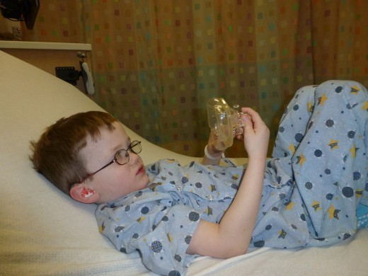 Preparing for surgery: our four year old son, prior to his Nissen Fundoplication.