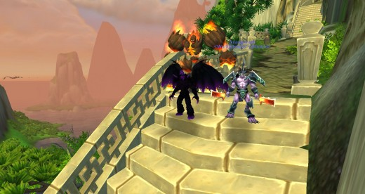 WoW Beta Screenshot: Warlock in Demon form with new Wrathguard and Abyssal, replacing the Felguard and Infernal respectively (Talent).