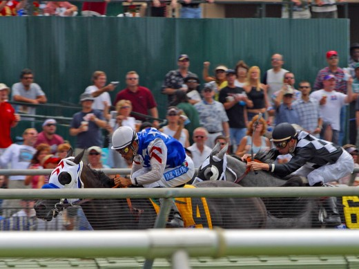 Horse racing at Delmar Racecourse. (Photo by Jon Sullivan)