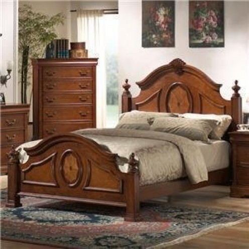 A queen size low post panel bed in a rich caramel finish.