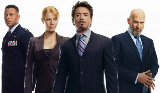 Terrence Howard, Gwyneth Paltrow, Robert Downey Jr and Jeff Bridges in Iron Man (2008)