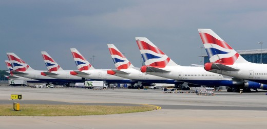 British Airway's Boeing 747-400 jetliners at London Heathrow Airport