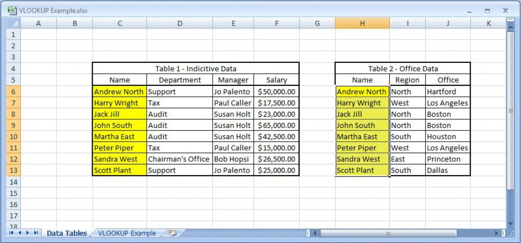 how to use vlookup in excel 2013 for names