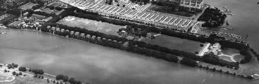 Fort McNair, 1948 Note the War College (right), Model Arsenal (right of center) and Building 20 and tennis courts left of center) on parade ground. Washington Channel is in foregound.
