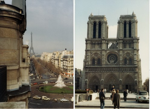 Fantastic view from the apartment where I was an Au pair and a familiar view of Notre Dame cathedral.