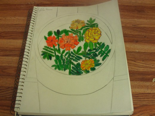 All of the marigolds and the foliage has been colored in.