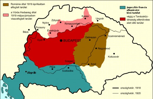 Hungary's borders under Soviet rule in 1919. (red: Hungarian control)