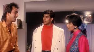 Sanjay Dutt, Salman Khan and Madhuri Dixit in Saajan.
