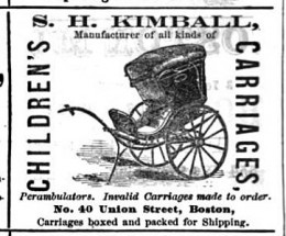 """Advertisement for """"children's carriages' circa mid 1880s"""