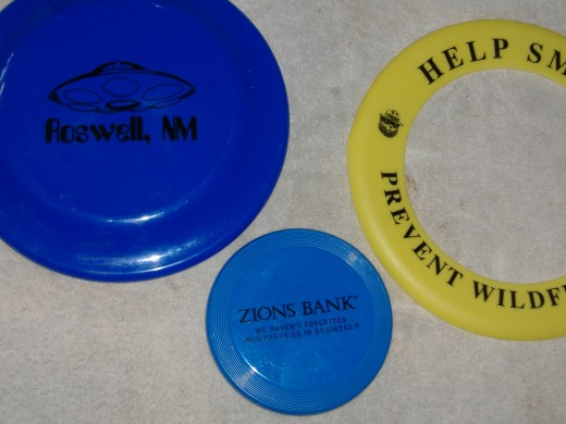 Frisbees come in many shapes and sizes.  This is a small part of my collection.