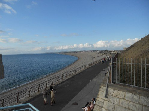 Looking westwards along Chesil Beach from Portland in Dorset
