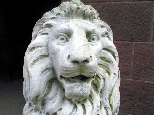 Lion sculpture up close