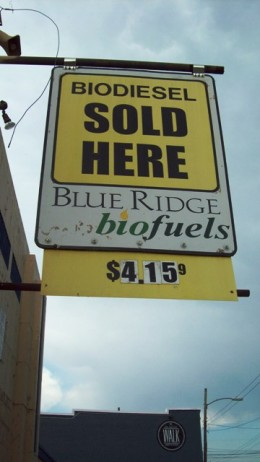 Biodiesel stations are located around Asheville.  Any car that uses petroleum-based diesel can fill up with biodiesel.  As you can see, prices are competitive.