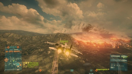A picture I took in-game whilst airborne in one of the jets in Battlefield 3. In the distance you can see a huge amount of burning tress, which are just some of the amazing graphical features of this game.