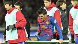 Villa after breaking his leg.