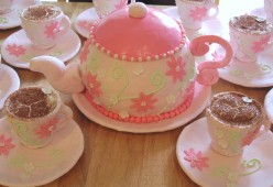 How to Make a Teapot Cake with Tiramisu filled teacups, Girls Party Cake