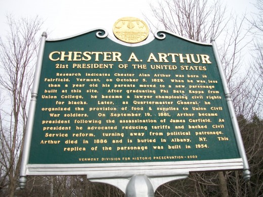 Commemorative plaque, Chester Arthur State Historic Site