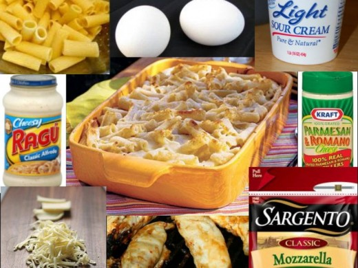 Every ingredient you need to make the delicious alfredo bake