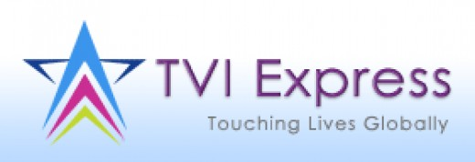 """TVI Express logo, with tagline """"touching lives globally"""""""