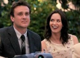 "Jason Segel and Emily Blunt star in the romantic comedy ""The Five Year Engagement"""