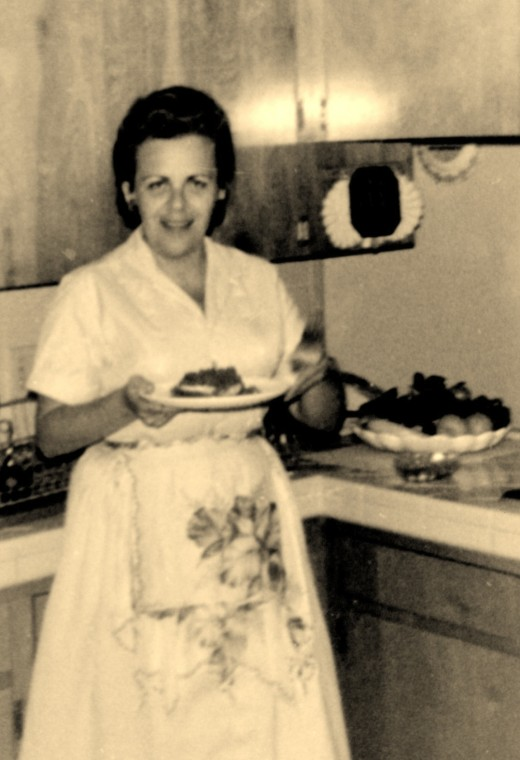 My Mother in her kitchen ~ 1960s