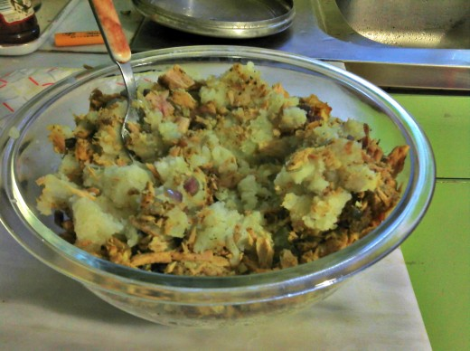 Tuna added to potatoes